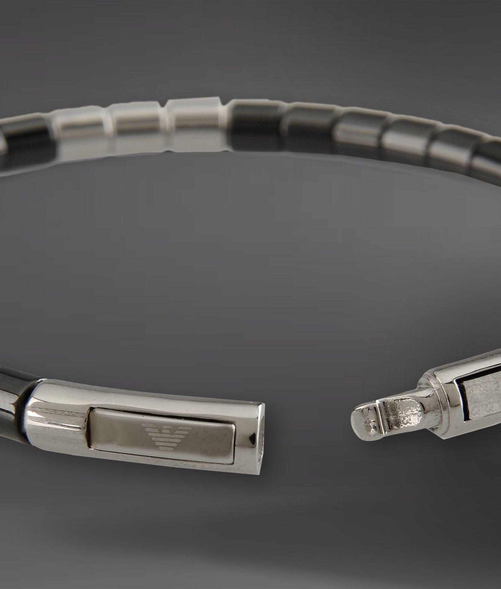 Emporio Armani Bracelet In Steel And Ceramic In Metallic