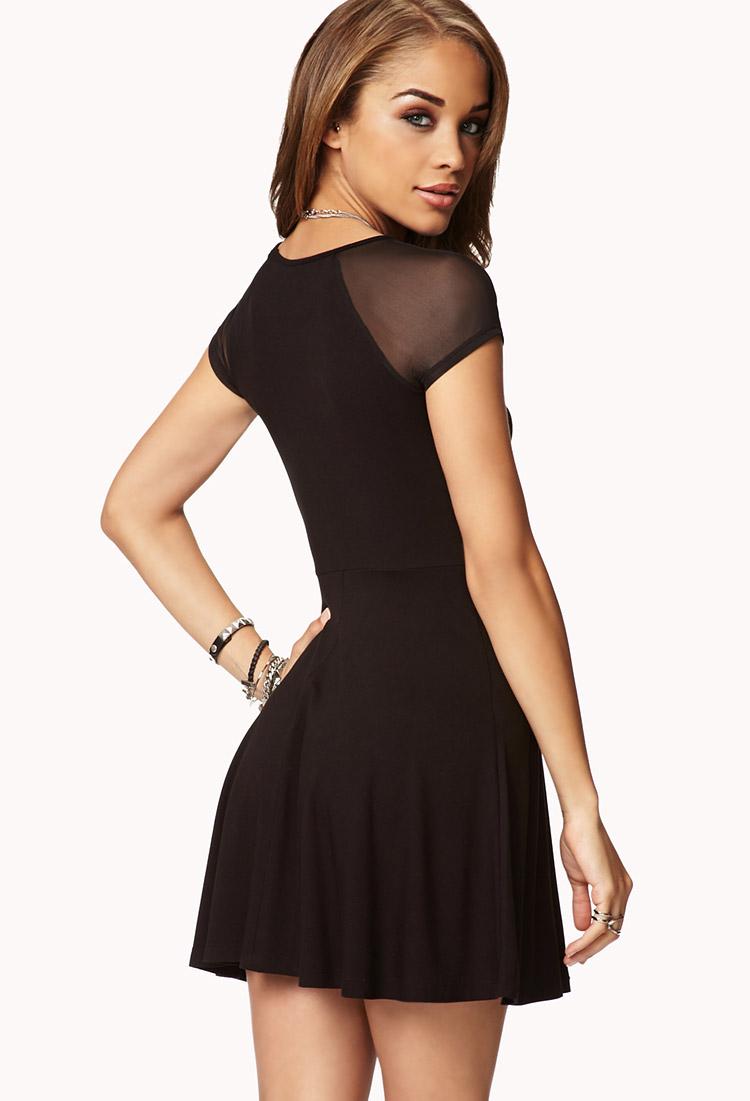 Forever 21 Mesh Sleeve Skater Dress in Black | Lyst