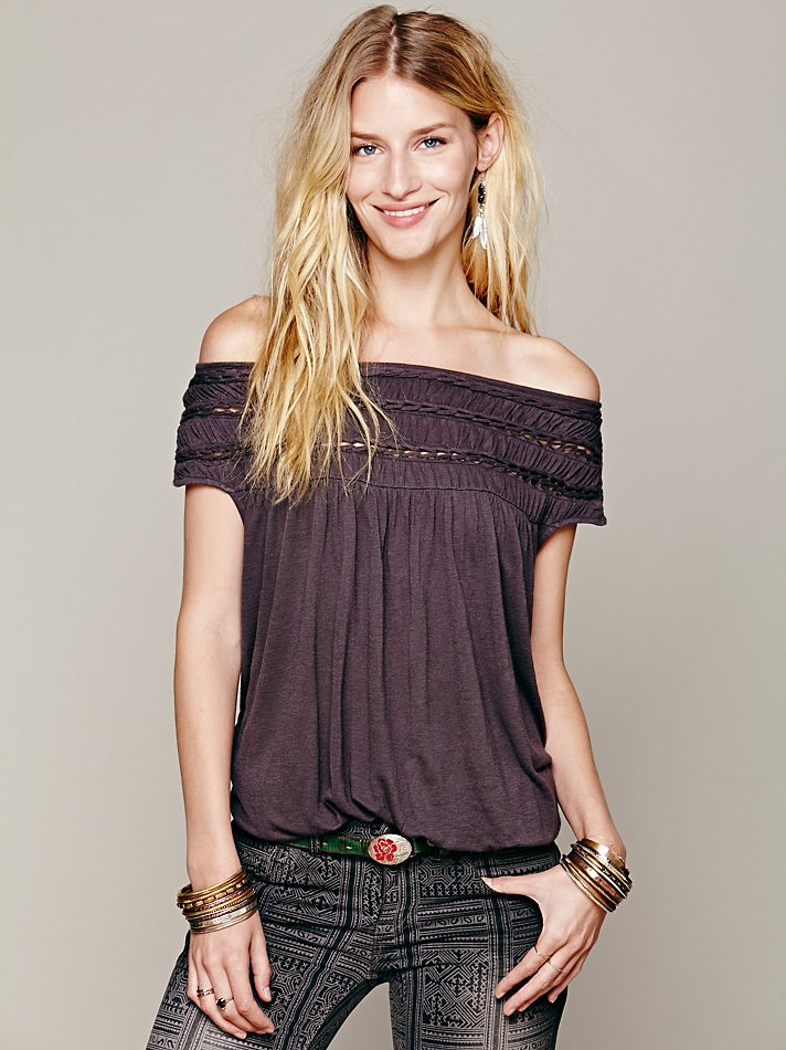 Lyst Free People Braided Off Shoulder Top In Purple