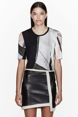 Helmut Lang Grey Colorblocked Printed T_shirt - Lyst