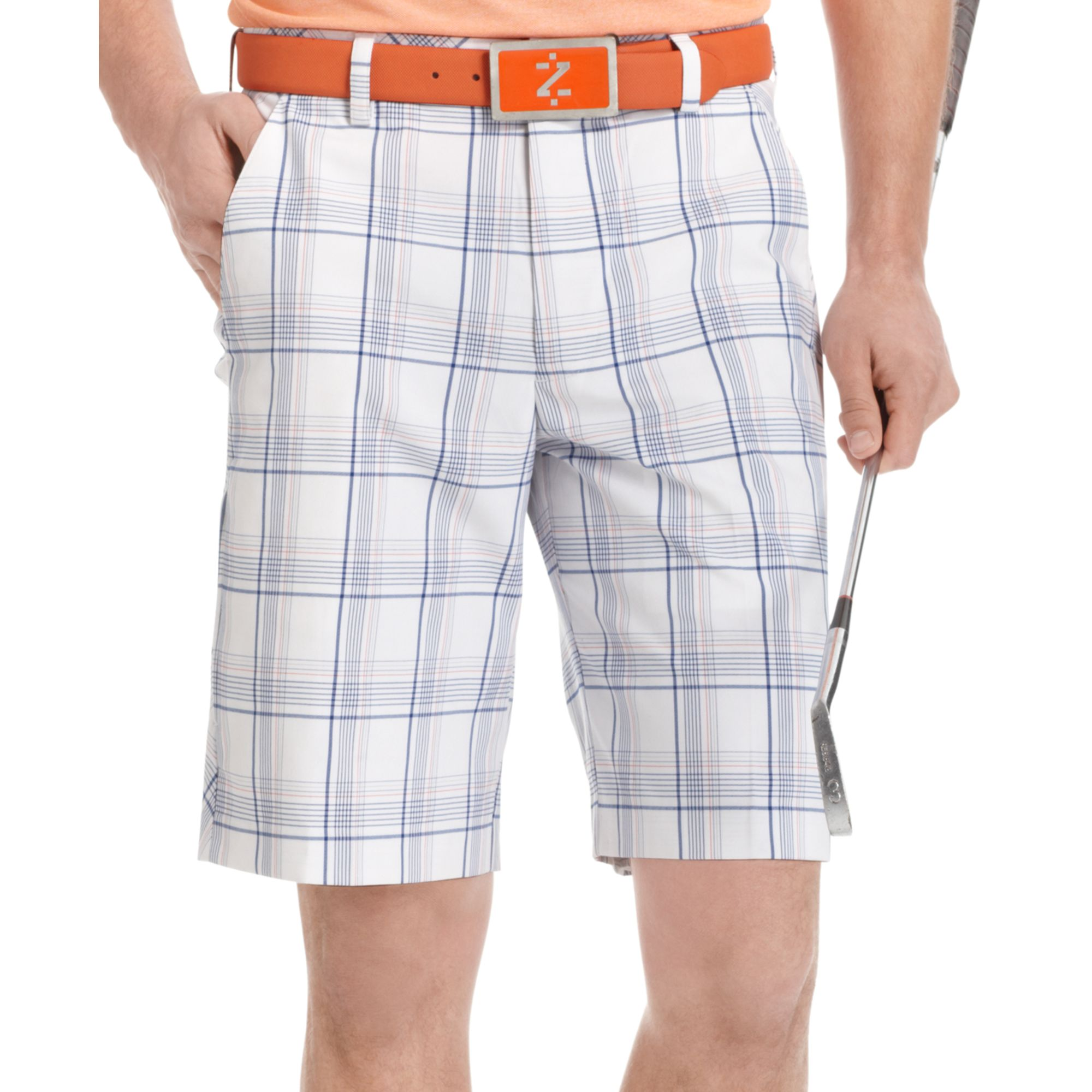 Izod Flat Front Plaid Golf Shorts in Blue for Men | Lyst