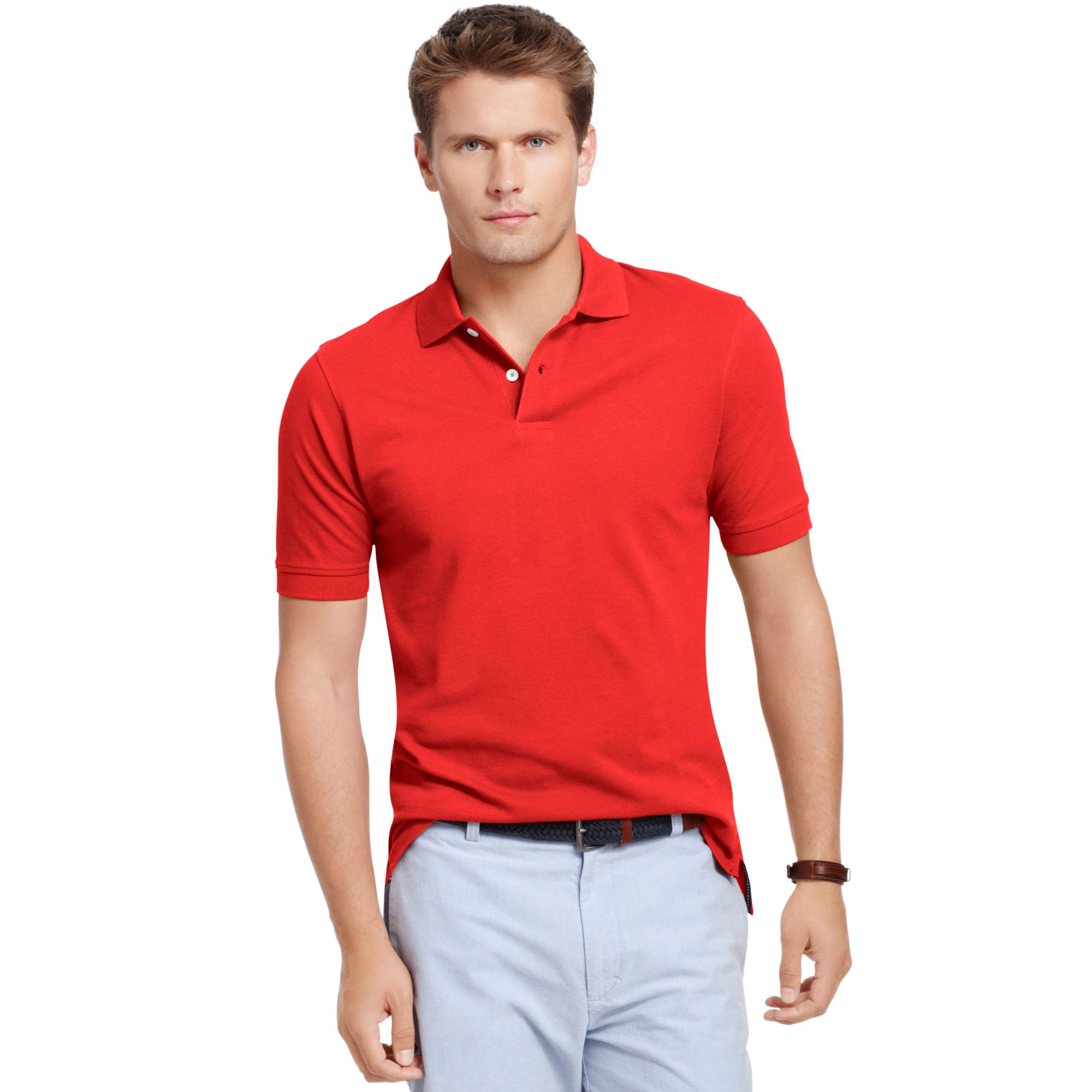 Lyst izod pima cotton polo shirt in red for men Man in polo shirt
