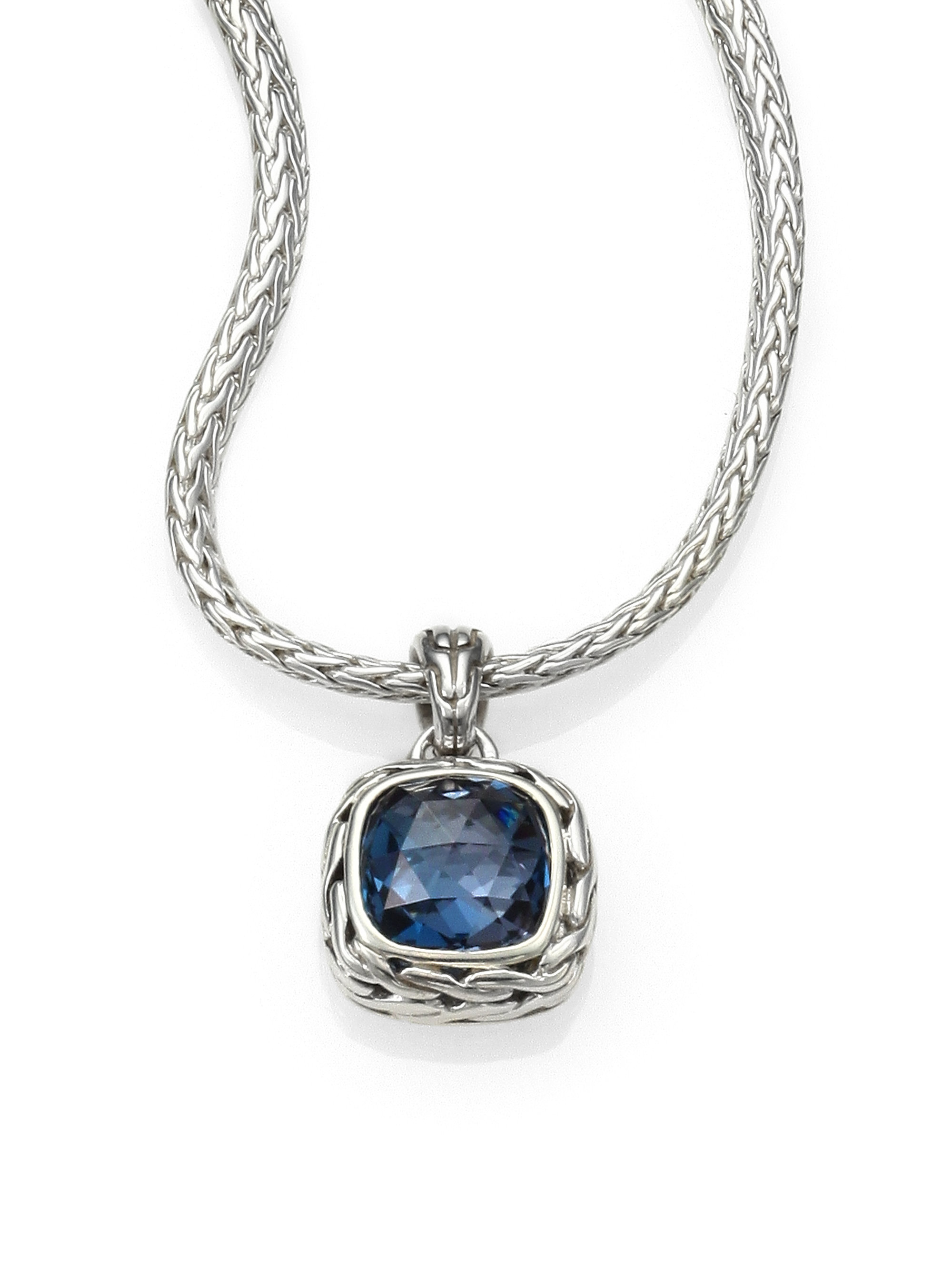 Lyst - John hardy Classic Chain Sterling Silver Small Square Pendant Necklace in Blue - Save 50%