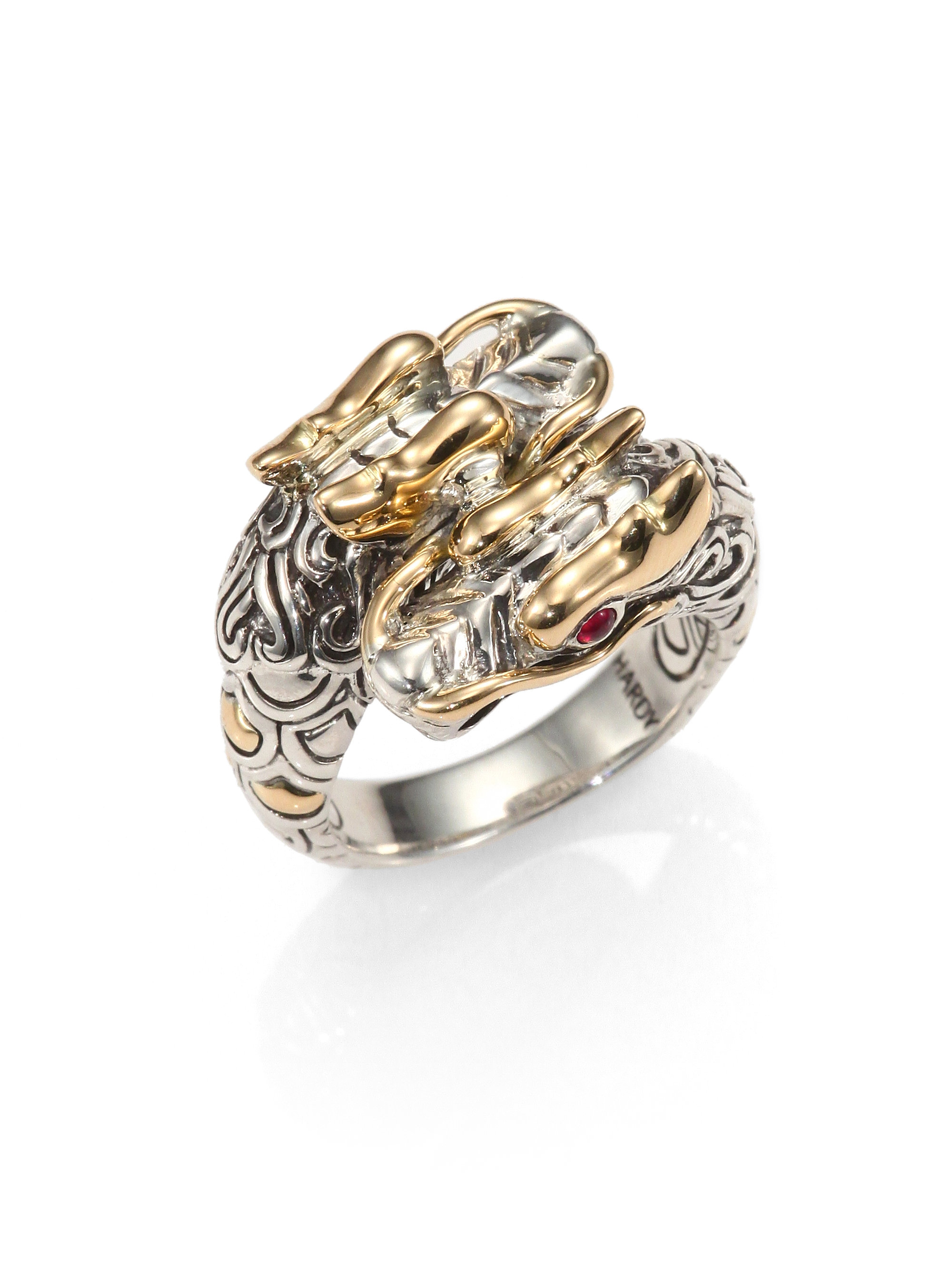 Lyst John Hardy Naga Ruby 18k Yellow Gold Amp Sterling