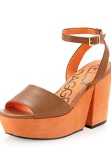Kelsi Dagger Tani Two-tone Platform Sandal Luggage-orange - Lyst
