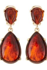 Kenneth Jay Lane Tortoise Teardrop Clip Earrings - Lyst