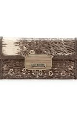 Moschino Flapfront Snakeembossed Wallet Natural - Lyst