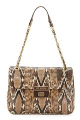 Moschino Medium Chainstrap Snakeprint Satchel Natural - Lyst