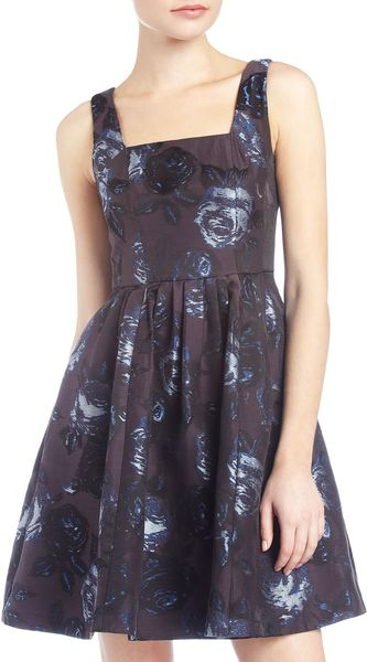 Muse Floral Brocade V Back Dress - Lyst