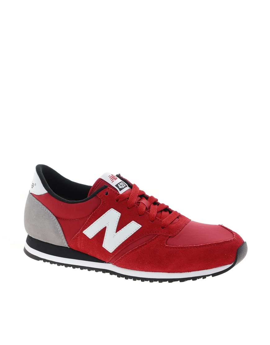 Lyst New Balance 420 Red Suede Trainers In Red