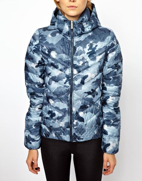 nike padded camo jacket in blue grey lyst. Black Bedroom Furniture Sets. Home Design Ideas