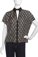 Robert Rodriguez Fleurprint Collared Blouse Blackivory - Lyst