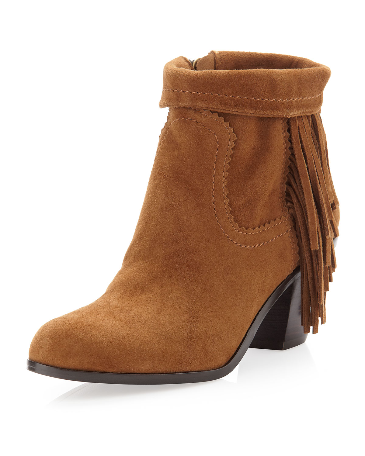 5c291869e6af Lyst - Sam Edelman Louie Sidefringe Ankle Boot Cocoa in Brown