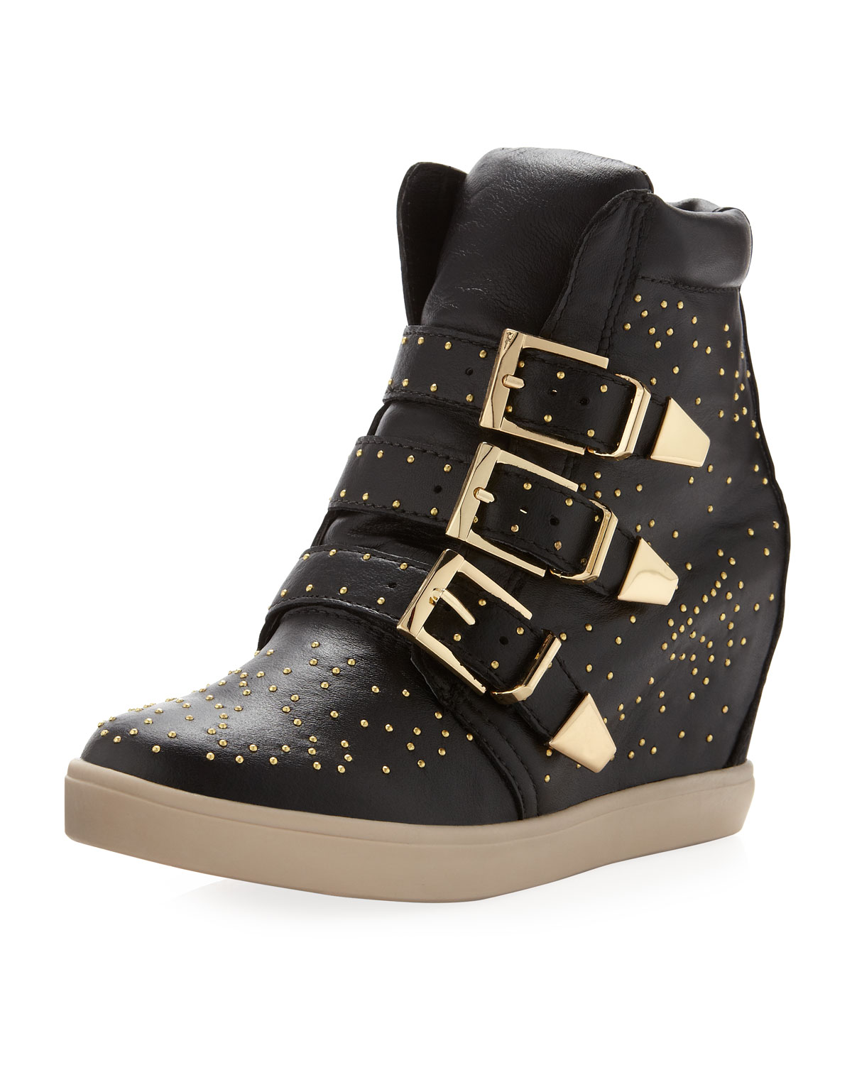 139125d8569 Lyst - Steven by Steve Madden Jeckle Studded Wedge Sneaker Black in ...
