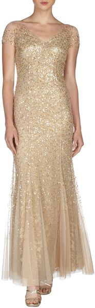 Teri Jon Sequined Tulle Capsleeve Gown in Brown (GOLD) - Lyst