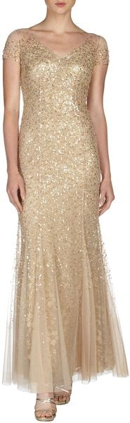 Teri Jon Sequined Tulle Capsleeve Gown in Brown (GOLD)