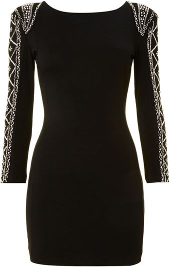 Tfnc Embellished Sleeved Mini Dress - Lyst