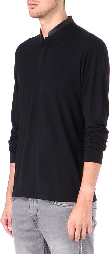 The kooples leather collar wool henley shirt for men in for Mens collared henley shirt