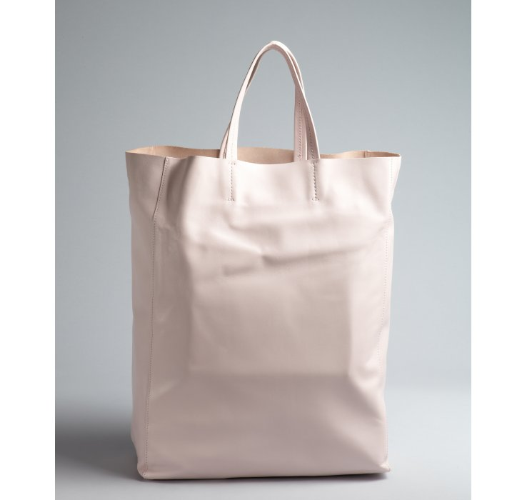 C¨¦line Pale Pink Dual Handle Leather Shopping Tote in White (pink ...