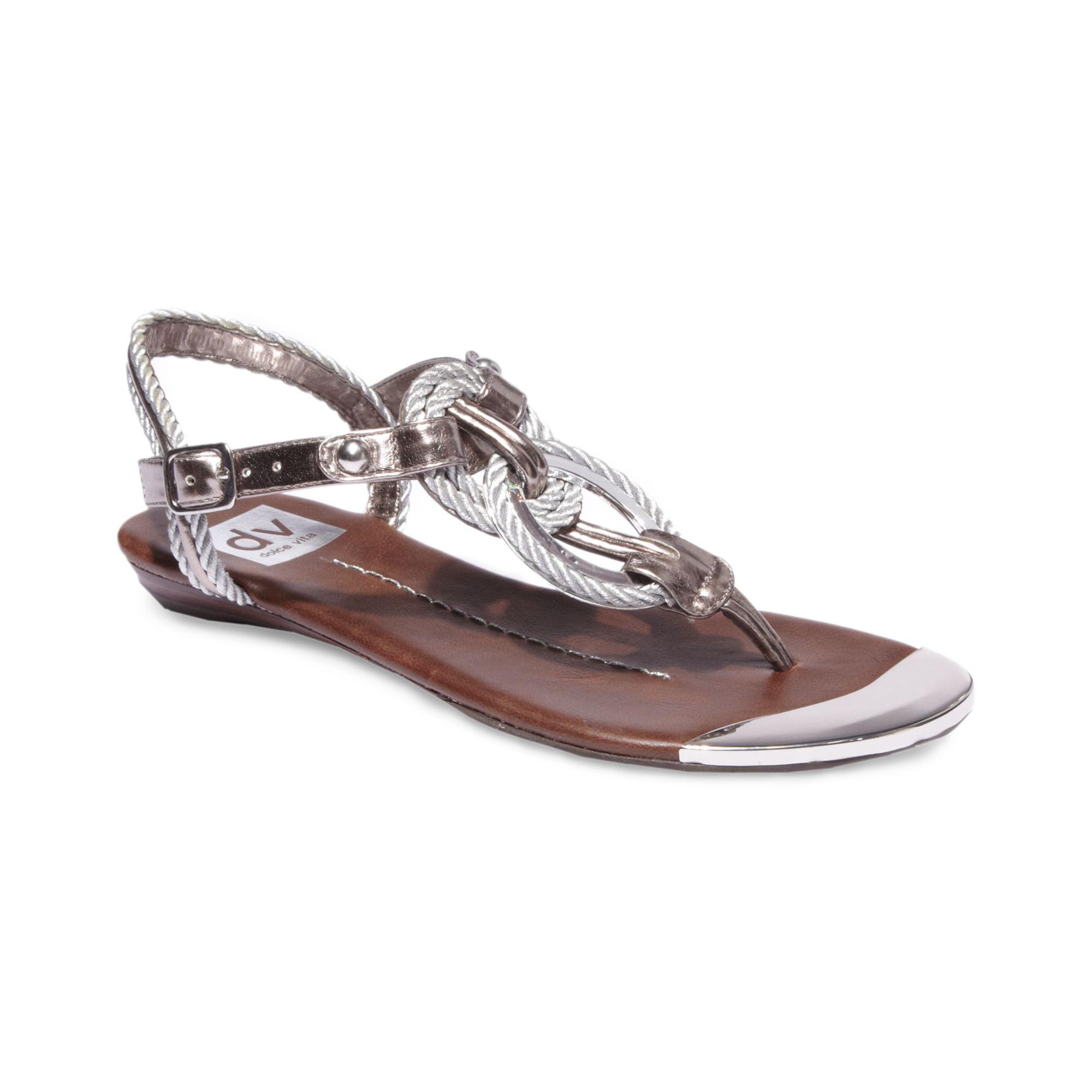 Dolce Vita Agnus Flat Sandals in Silver | Lyst
