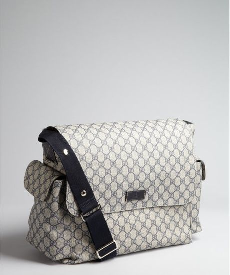 Gucci Blue and Grey Gg Plus Messenger Diaper Bag in Gray (blue)
