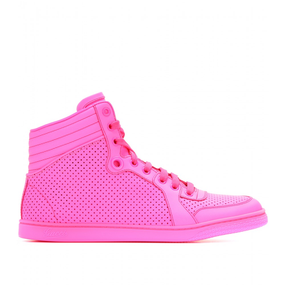Lyst - Gucci Hightop Neon Leather Sneakers in Pink