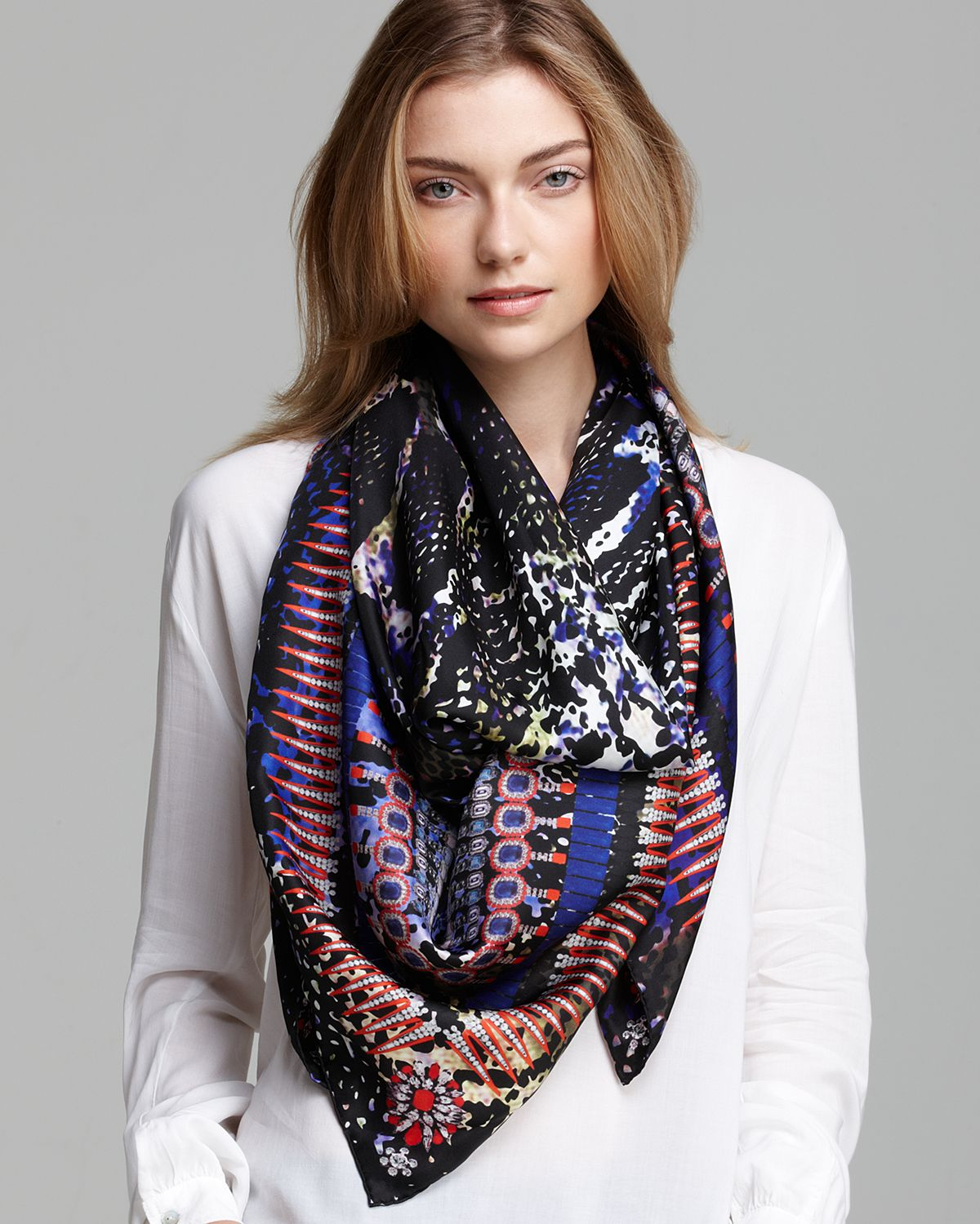 Lyst Jane Carr Snake Silk Square Scarf In Purple