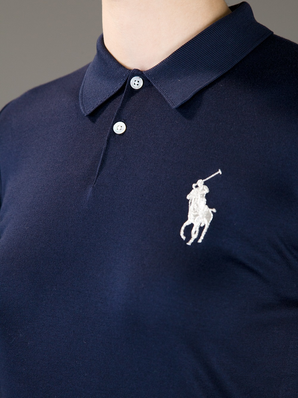 Lyst ralph lauren logo polo shirt in blue for Polo shirts with logos