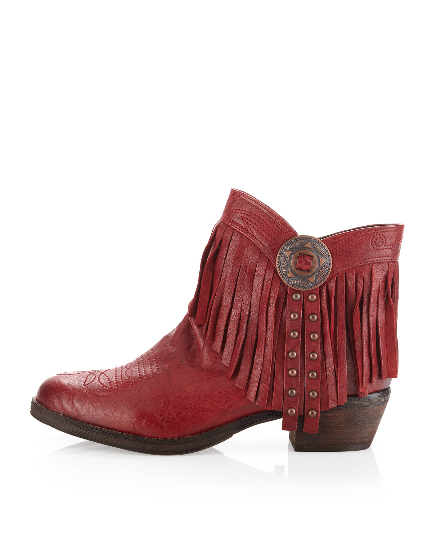 dfbc03f4147f5 Lyst - Sam Edelman Sidney Fringe Short Boot Sidney Red in Red