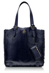 Tory Burch Patent Shearling Channing Tall Tote - Lyst