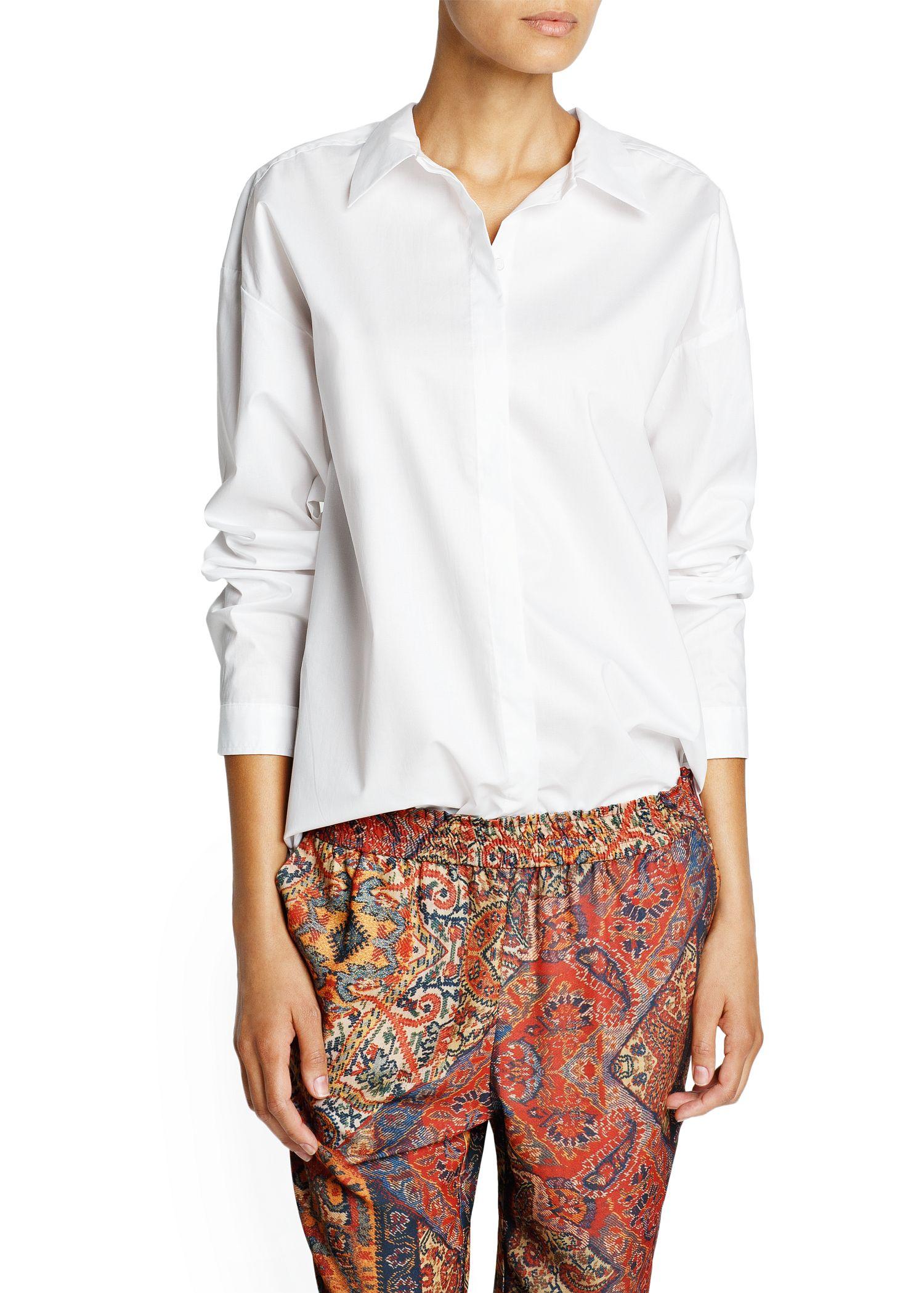 lyst mango cotton boyfriend shirt in white. Black Bedroom Furniture Sets. Home Design Ideas