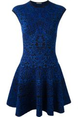 Alexander McQueen Silk and Wool Blend Jacquard Knit Dress - Lyst