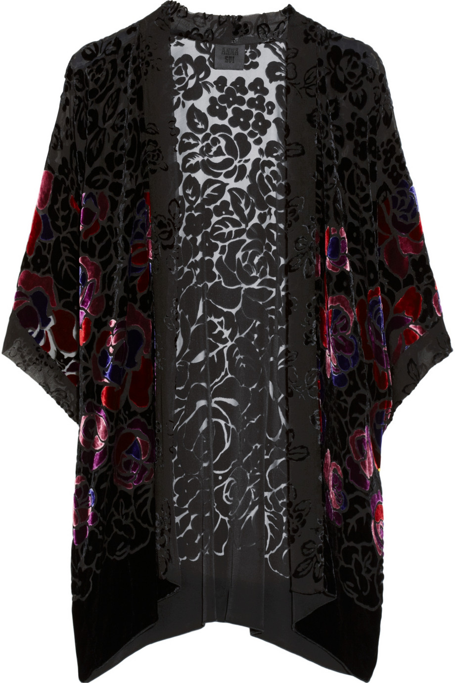 Anna Sui Rose Patterned Burnout Velvet Kimono Style Jacket