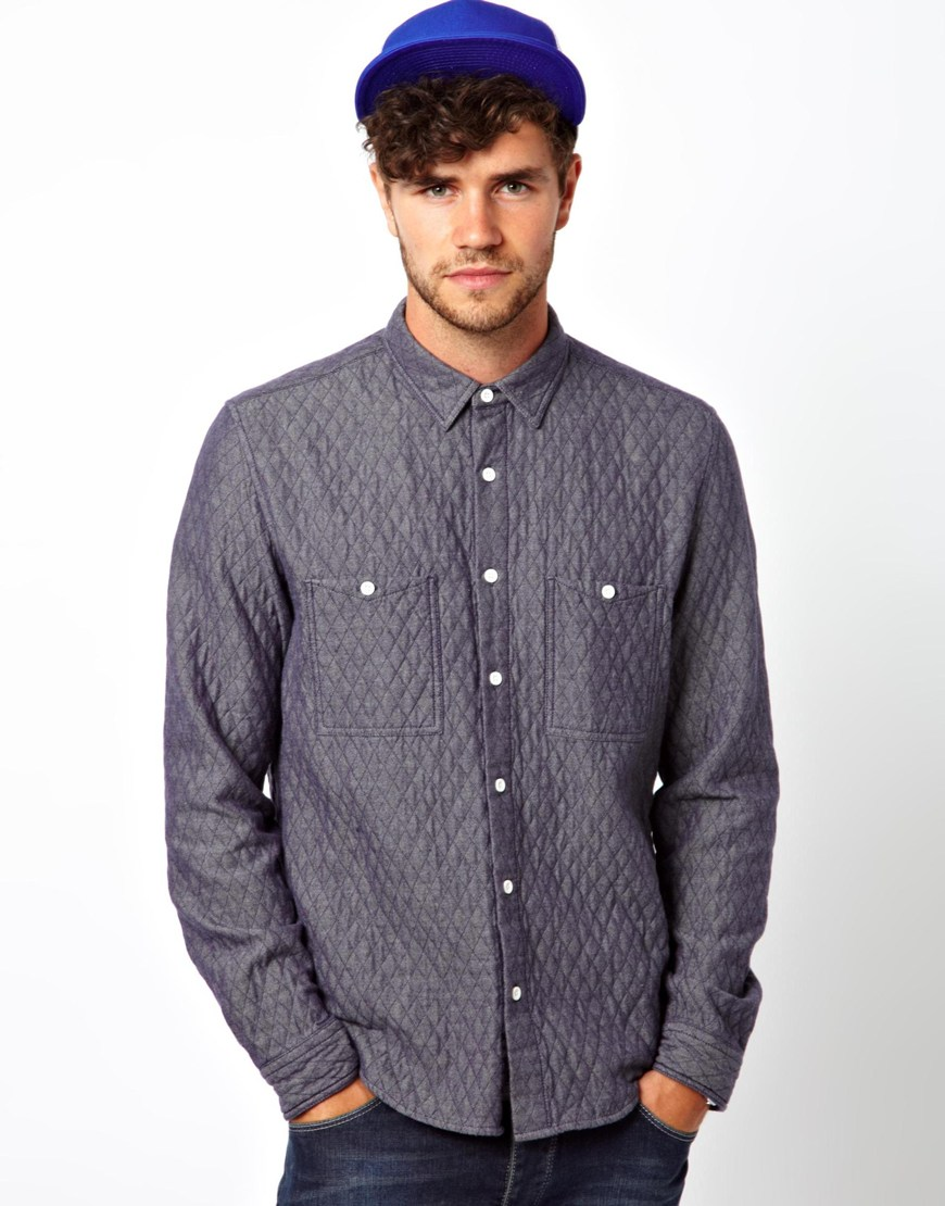 Asos Denim Shirt In Long Sleeve With Padding In Blue For