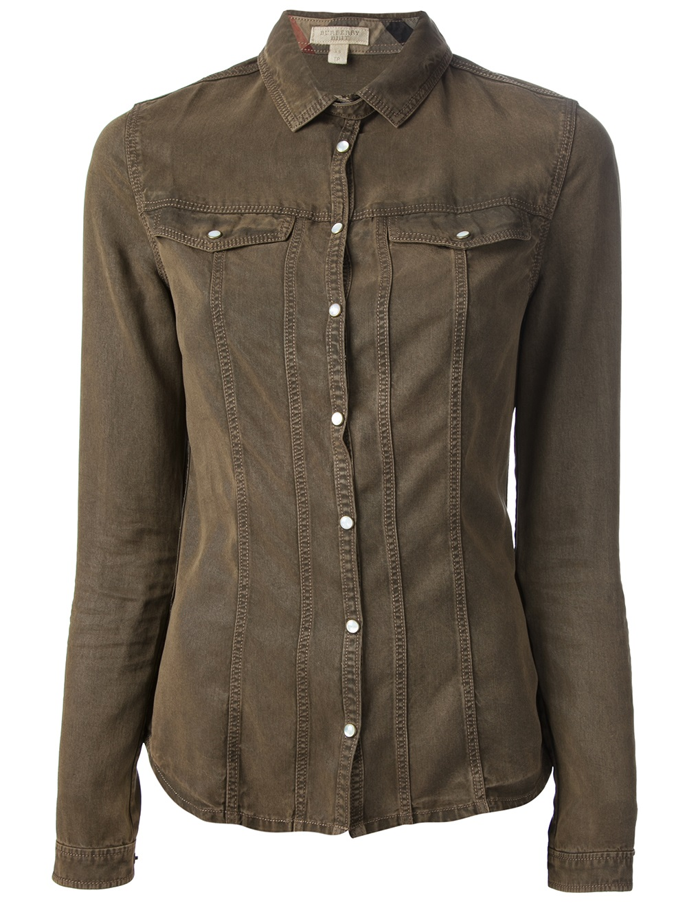 Lyst burberry brit long sleeve shirt in green for Burberry brit green plaid shirt