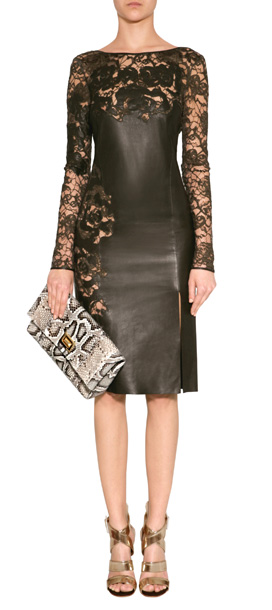 Lyst Emilio Pucci Olive Leather Dress With Lace Inserts