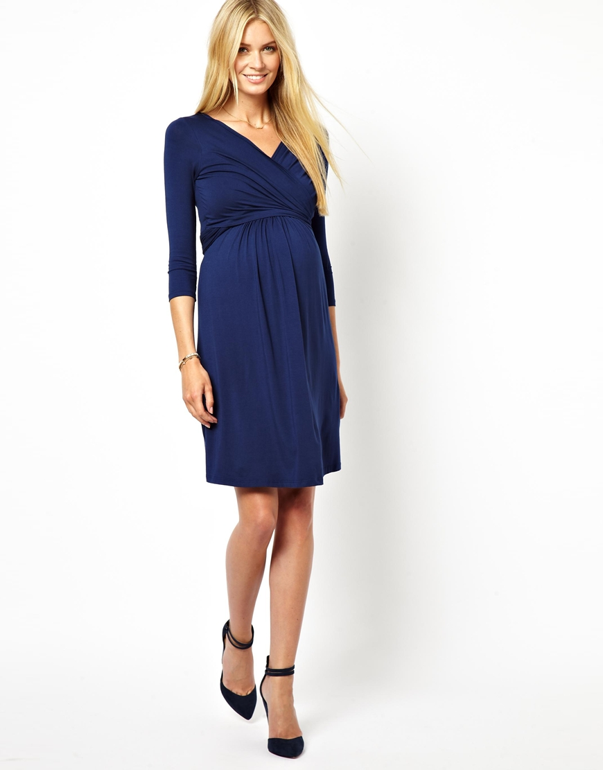 Asos Isabella Oliver Wrap Front Jersey Dress In Blue Lyst