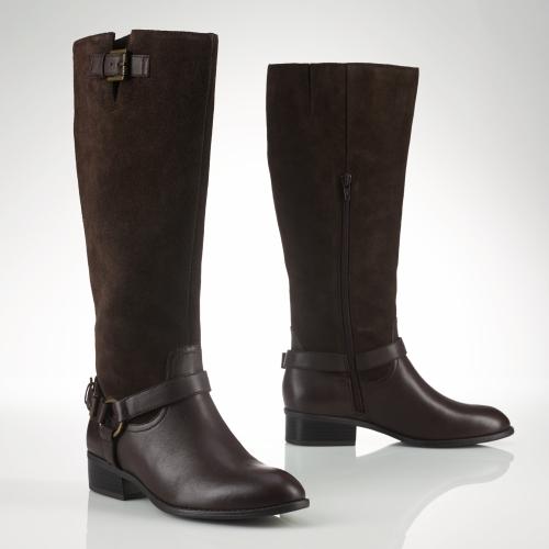Lauren by ralph lauren Calfskin Suede Riding Boot in Brown | Lyst