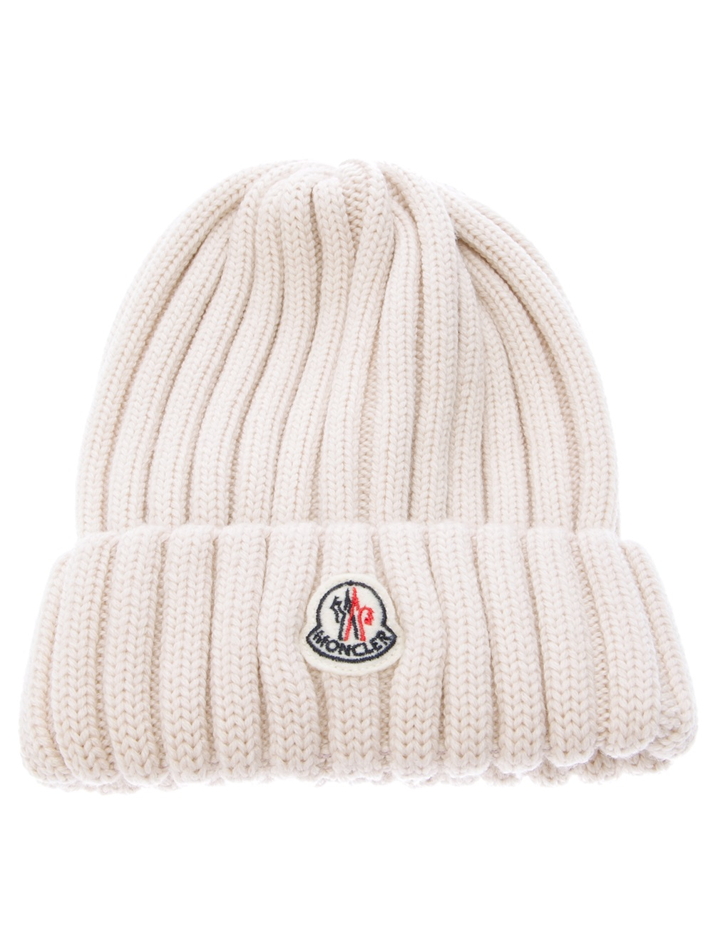 546f8b7f8cb Lyst - Moncler Wool Ribbed Knit Beanie Hat in Natural for Men