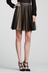 RED Valentino Pleated Swiss Dot Tulle Skirt Black - Lyst