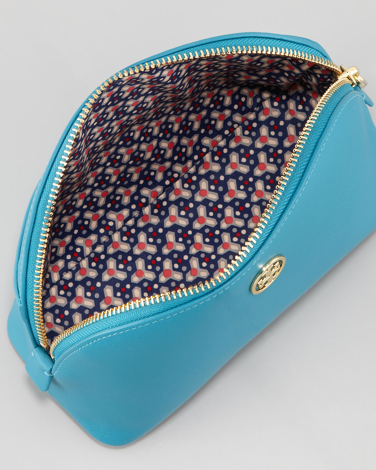 5a12c62b737a ... promo code for lyst tory burch robinson leather cosmetic bag electric  eel in blue 689ed 3318d