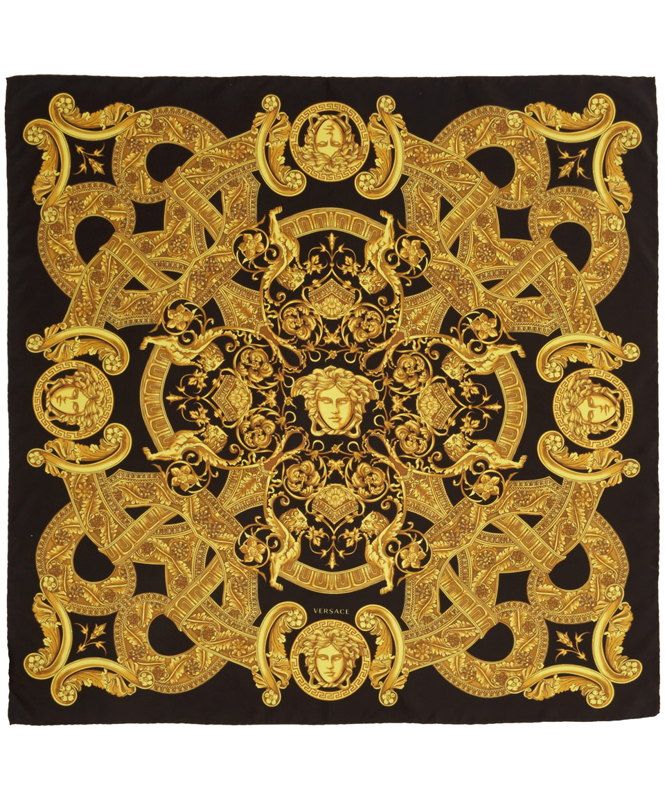 Genuine Versace scarf with signature black/ gold Barocco