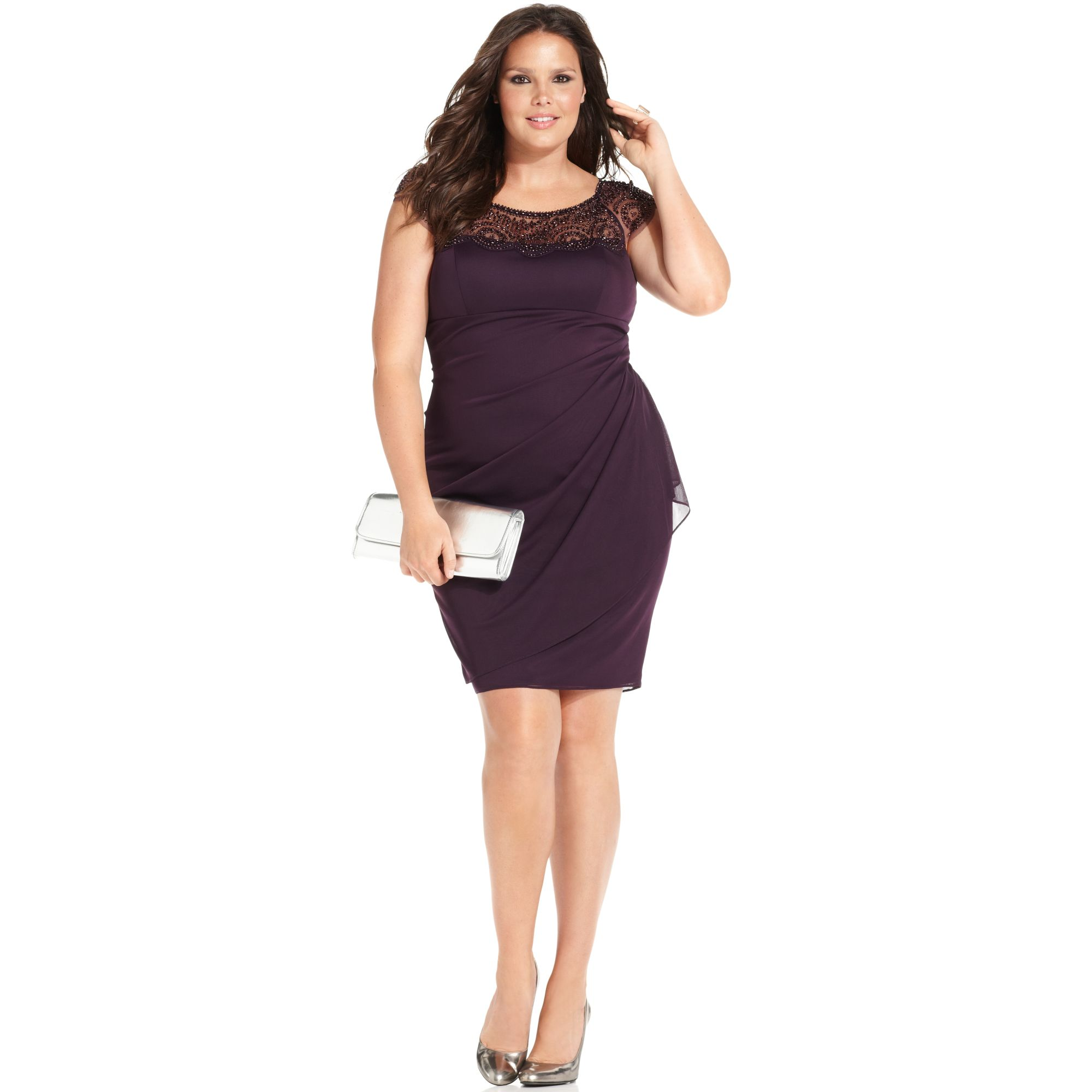 Xscape Xscape Plus Size Dress Capsleeve Beaded in Purple | Lyst