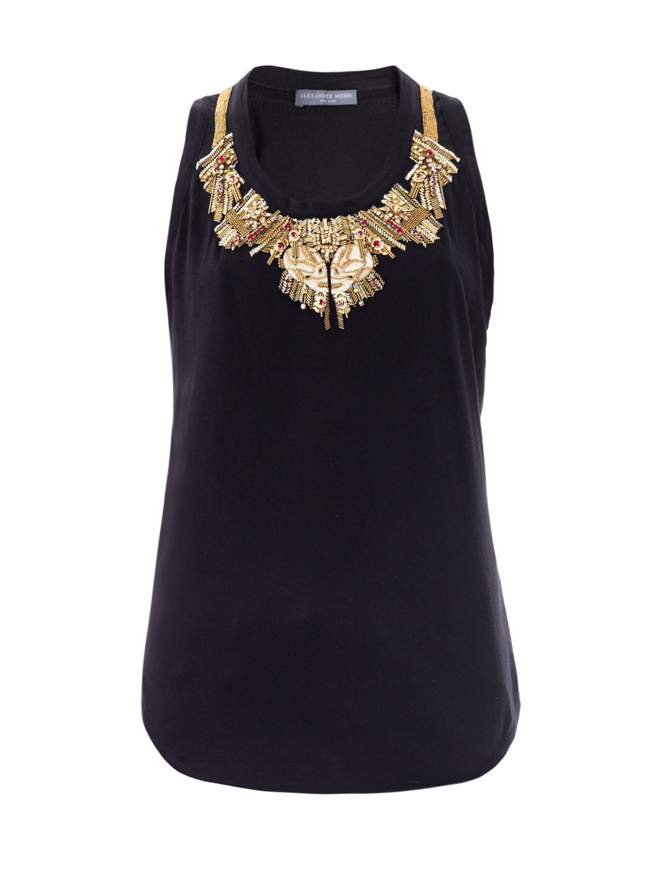 Alexander Mcqueen Gold Glory Embellished Top In Black Lyst