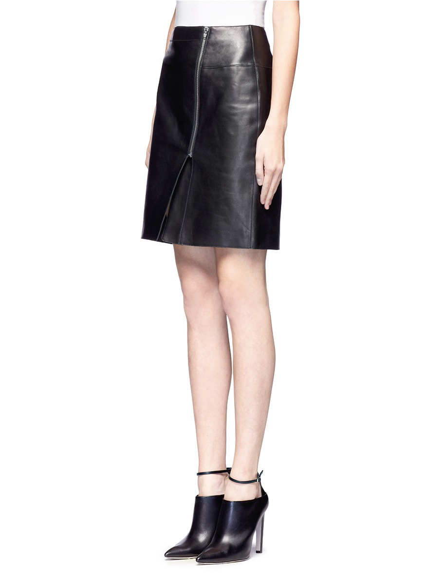 Alexander wang Asymmetric Zip Front Leather Skirt in Black | Lyst