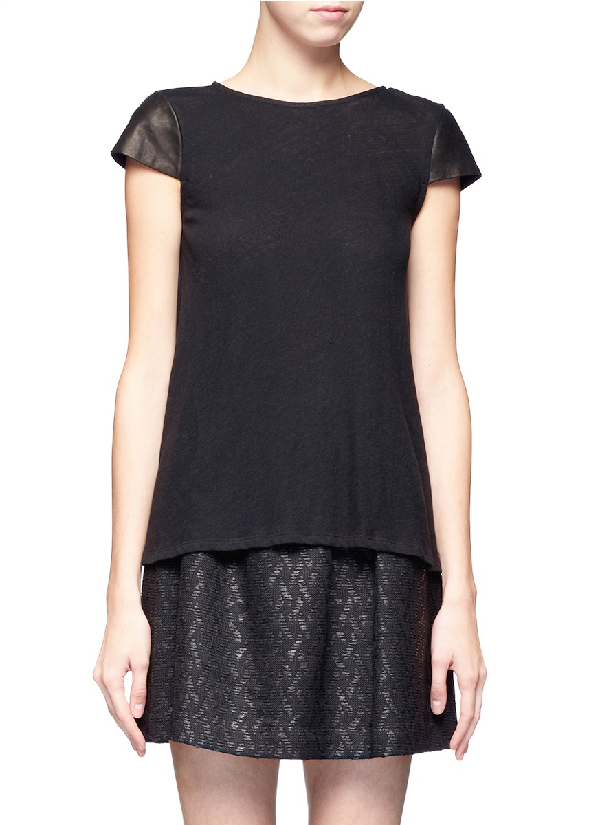 alice olivia leather sleeve t shirt in black lyst