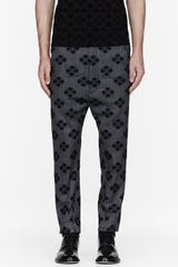 Ann Demeulemeester Grey Tweed Jacquard Flocked Trousers - Lyst