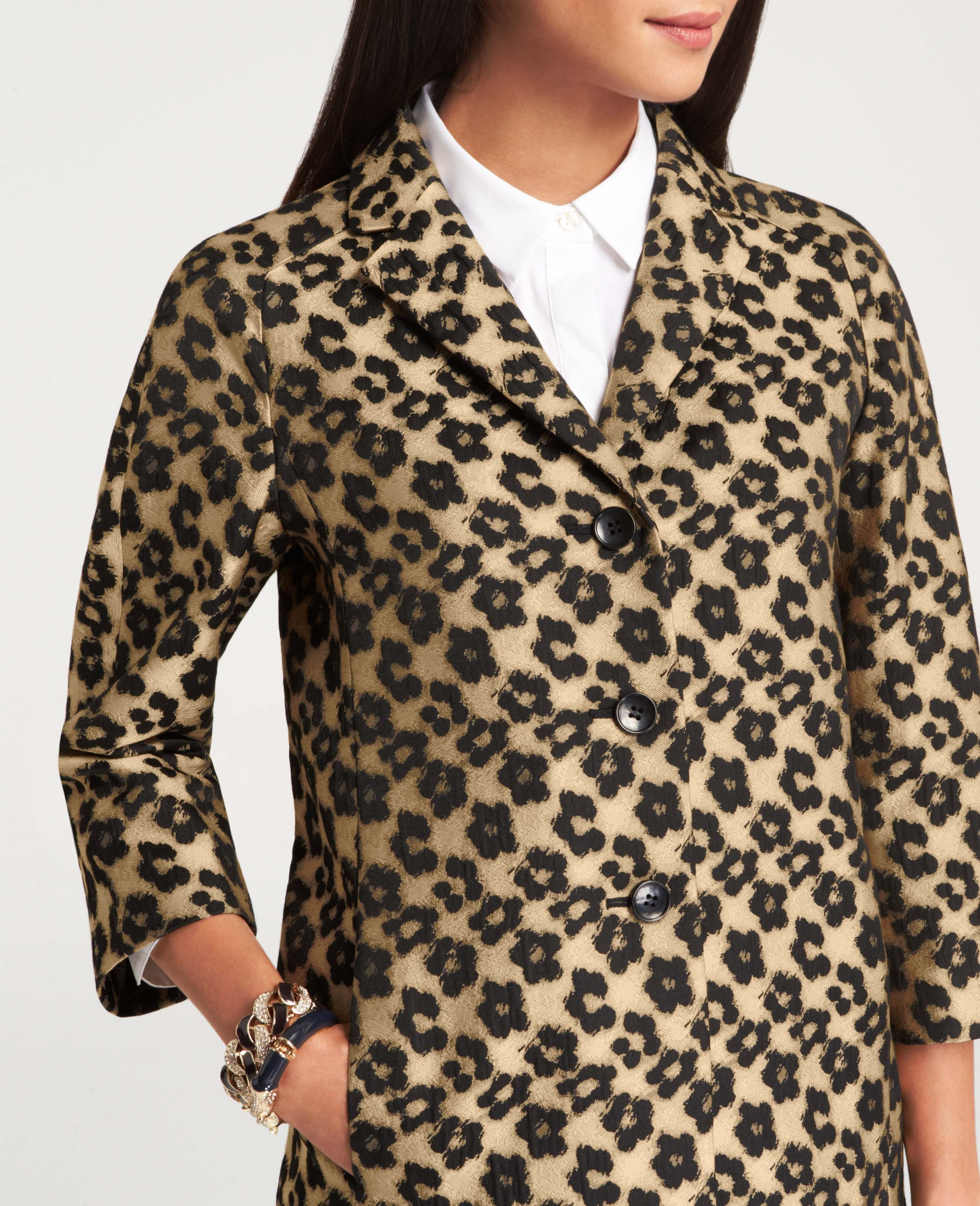 5db2232ed7cb Ann Taylor Floral Leopard Jacquard Topper in Natural - Lyst