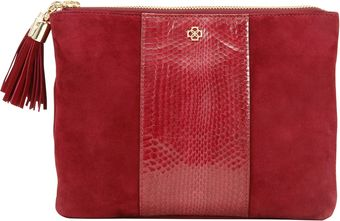 Ann Taylor Suede and Exotic Leather Pouch - Lyst