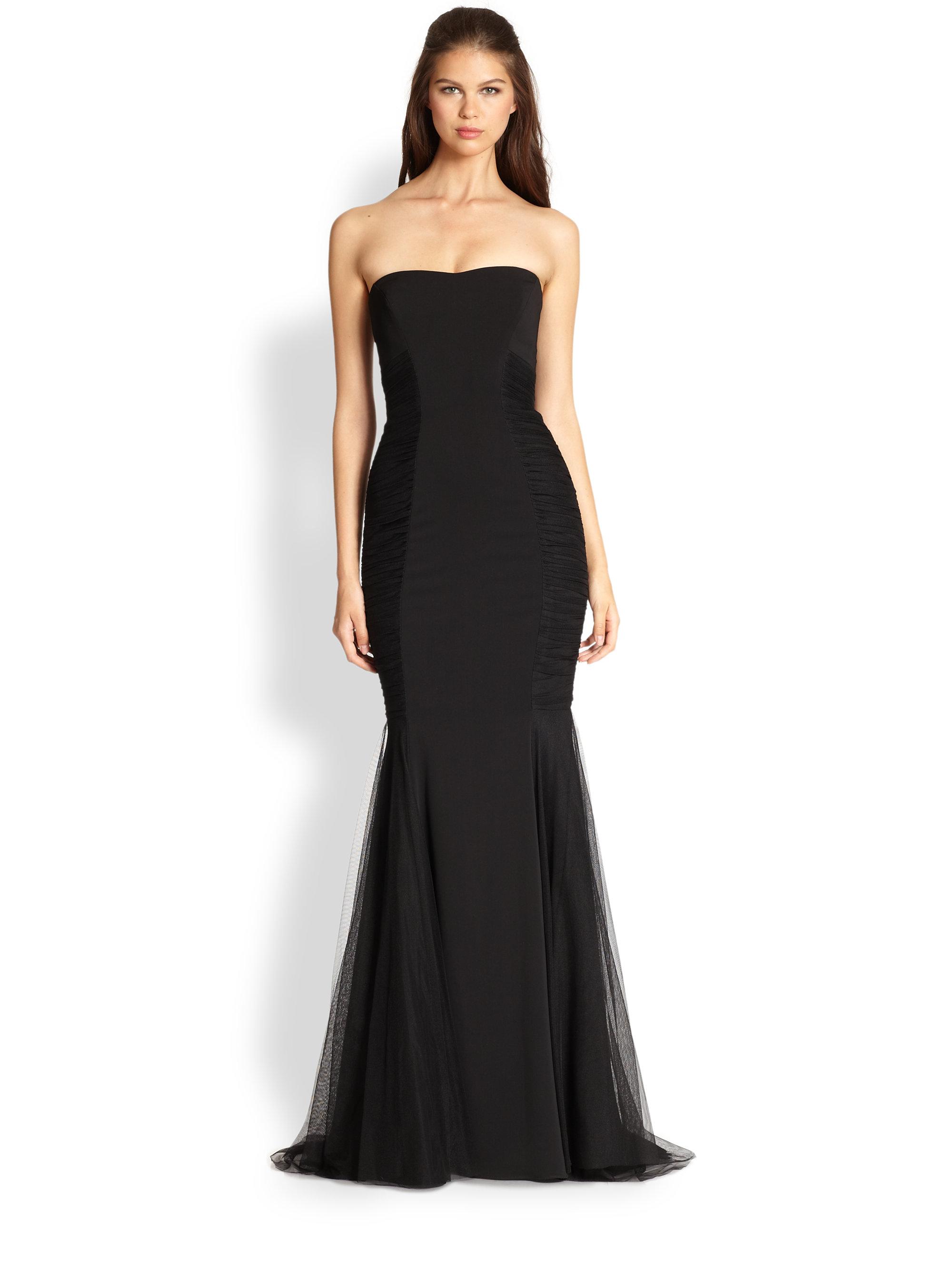 Lyst - Badgley Mischka Strapless Gown in Black